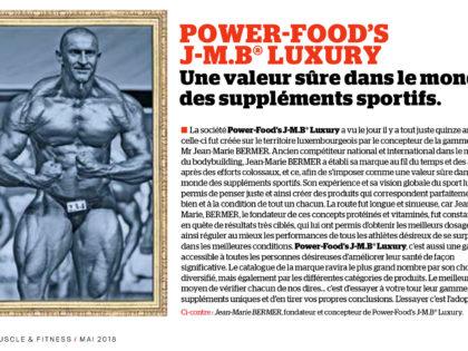POWER-FOOD'S J-M.B® LUXURY – Une valeur sûre dans le monde des suppléments sportifs.