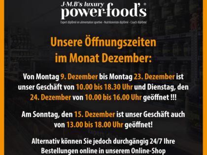 ACHTUNG: Unsere Öffnungszeiten im Dezember